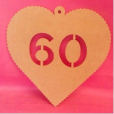 4mm MDF Hanging heart age 60
