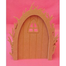 4mm Thick MDF Fairy door with Vine arch and Arch window