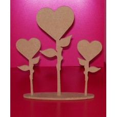 4mm Thick MDF Heart Flowers on a Base pack of 3