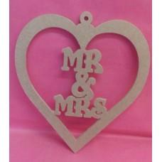 4mm MDF MR & MRS hanging  heart