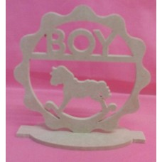 4mm Thick MDF Standing plaque with rocking horse and boy