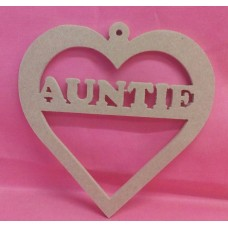4mm MDF Heart with Auntie