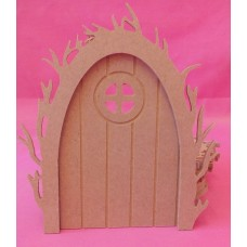 4mm Thick MDF Vine Arch Fairy door with Round window