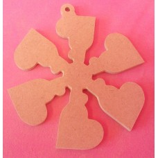 4mm Thick MDF Heart snowflake starts at 100mm size