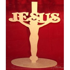 4mm Thick MDF Cross with Jesus 220mm tall