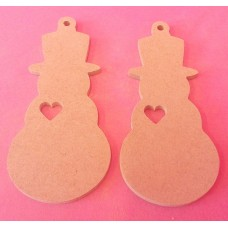 4mm Thick MDF Snowman with heart cut out pack of 5