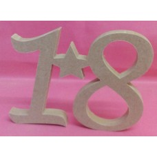 12mm MDF Standing 18 plaque with star