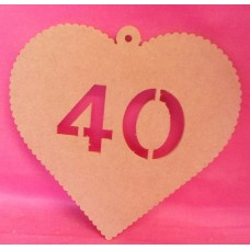 4mm MDF Hanging heart age 40