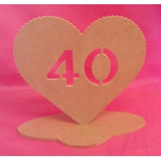 4mm MDF Standing Heart age 40