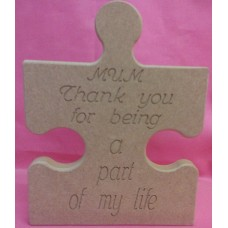 18mm MDF Jigsaw puzzle piece MUM  Thank you