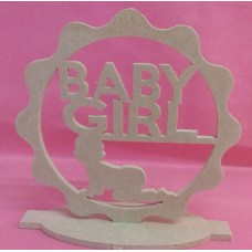 4mm Thick MDF standing plaque with baby girl
