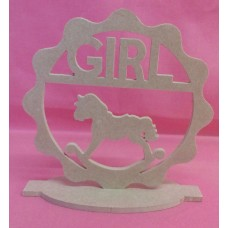 4mm  Thick MDF Standing Baby girl with rocking horse plaque