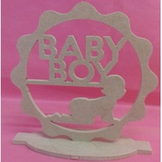4mm Thick MDF Standing plaque with baby boy