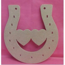 4mm Thick MDF horse shoe with Double heart.