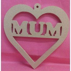 4mm MDF Heart  MUM