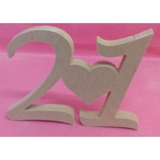 12mm MDF Standing 21ST plaque  with heart