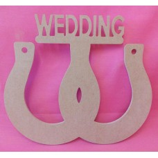 4mm MDF Double horse shoe with Wedding