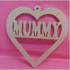 4mm MDF  Heart with MUMMY