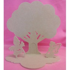 4mm Thick MDF Tree Fairy door with fairies