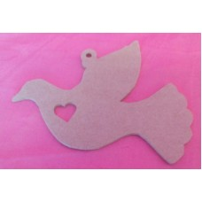 4mm MDF Dove with heart cut out 150mm in size pack of 3