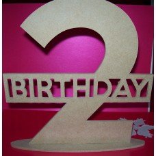 4mm Thick  MDF Standing Birthday age plaque Single number 200mm tall