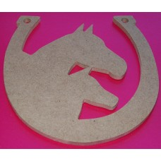 MDF Horseshoe with Mother and Foal Heads Large pack of 2