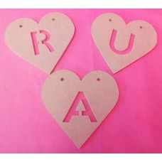 4mm Thick MDF Heart letter bunting 100mm