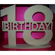 4mm Thick MDF Birthday plaque ( any double number) 220mm tall