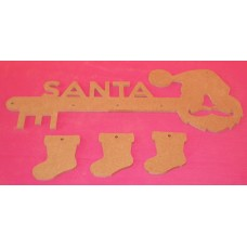 4mm Thick MDF Santa Key with 3 x boots