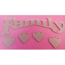 4mm Thick MDF Family Plaque with 4 x Bunting hearts