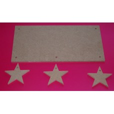 4mm Thick MDF Plaque With Stars 200mm wide QTY 5 x sets