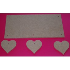 4mm Thick MDF Plaque With Hearts  200mm wide QTY 5 x sets