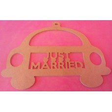 4mm MDF Hanging JUST MARRIED car plaque