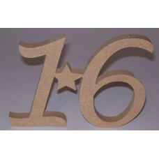 12mm MDF Age 16 Plaque with star