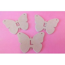 4mm Thick MDF Butterfly letter bunting 100mm