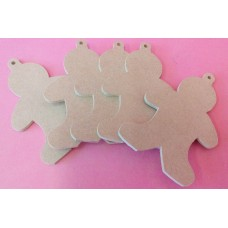 4mm Thick MDF Gingerbread men 100mm pack of 5