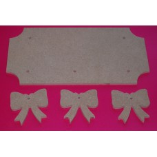 4mm Thick MDF Plaque Cut out Corners  With Bows  200mm wide