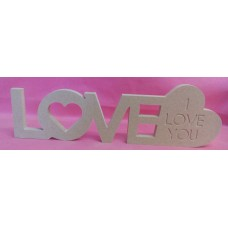 12mm MDF LOVE Plaque with Heart 300mm wide