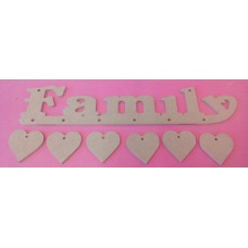 4mm Thick MDF Family plaque with 6 hearts
