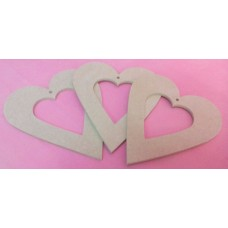 4mm Thick MDF Open heart 150mm pack of 3