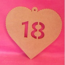4mm MDF Hanging heart age 18