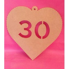 4mm MDF Hanging heart age 30